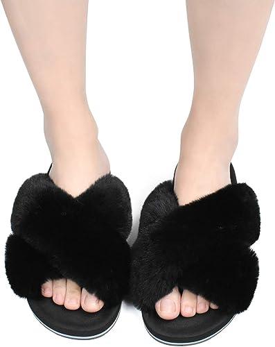 Femme Chaussons Dame Duveteux Fausse Fourrure Confort Pantoufles Chaud antid/érapant des Sandales /à Bout Ouvert Flou