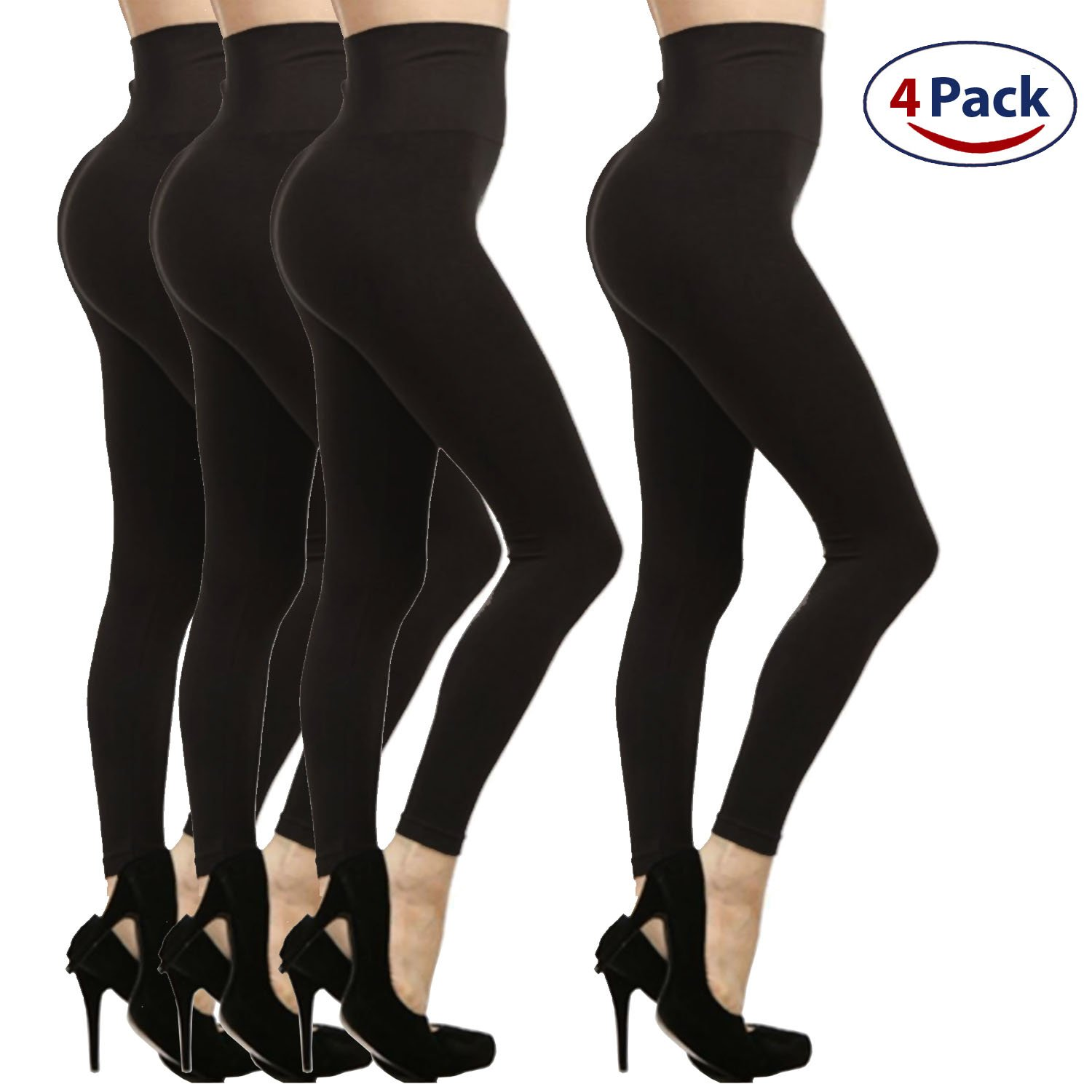 4-Pack High Waist Warm Fleece Lined Tummy Control Full Length Legging Winter Pants