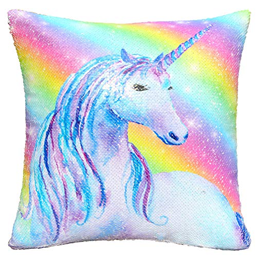 "ICOSY Mermaid Sequin Pillow with Insert, Unicorn Toy Pillow That Change Color Throw Pillows Kids Cushion Christmas Home Décor 16""x16"""