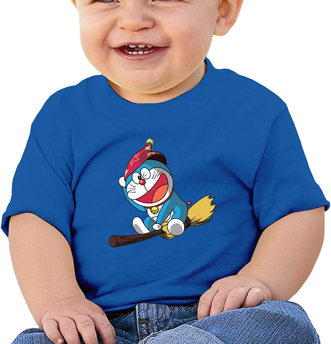 EVE JOHN Doraemon Riding A Magic Broom Tee Comfortable T Shirt for Toddler Black