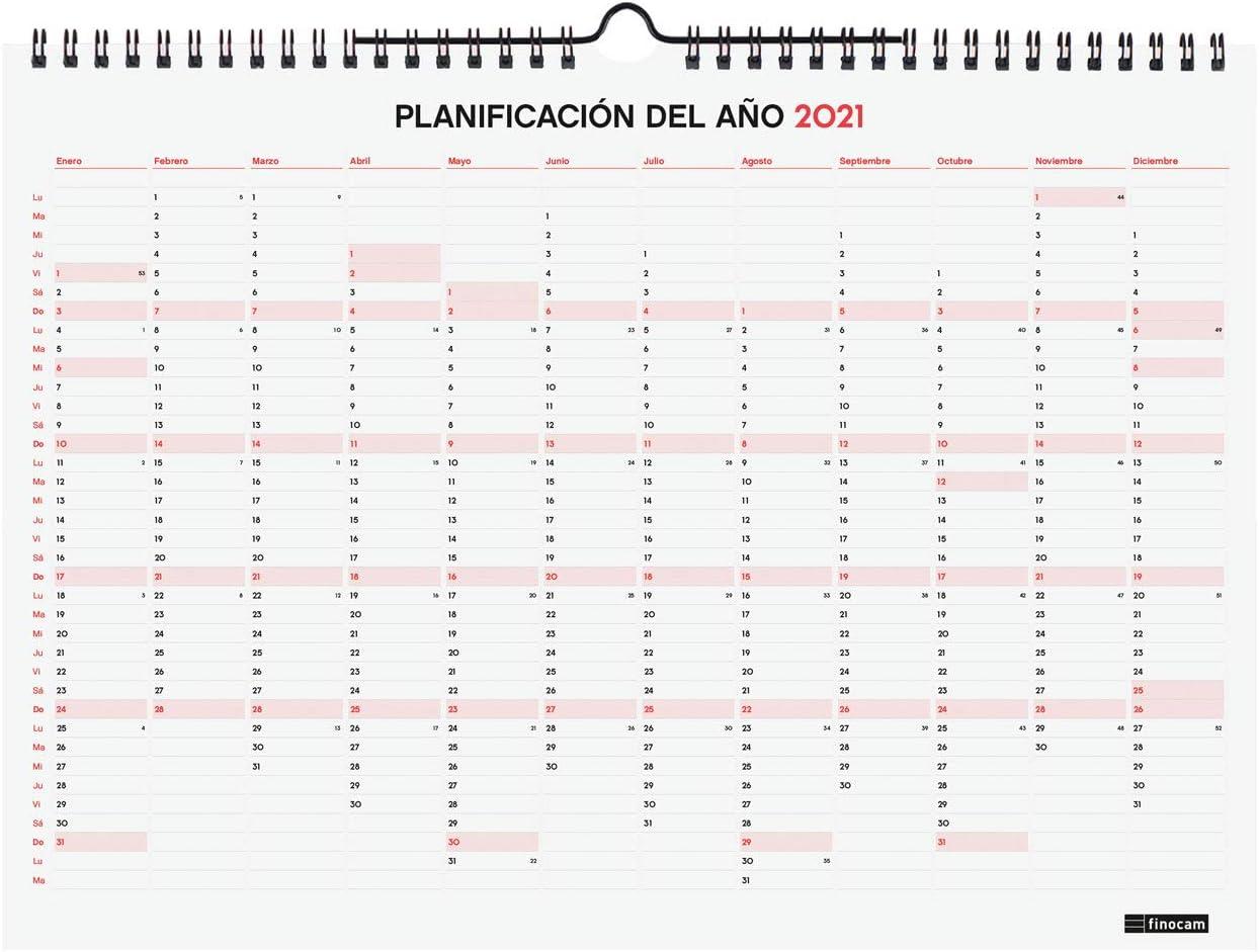 Calendario de Pared 18 Meses 2020-2021 L Finocam 340x245 Mes Vista Catal/án