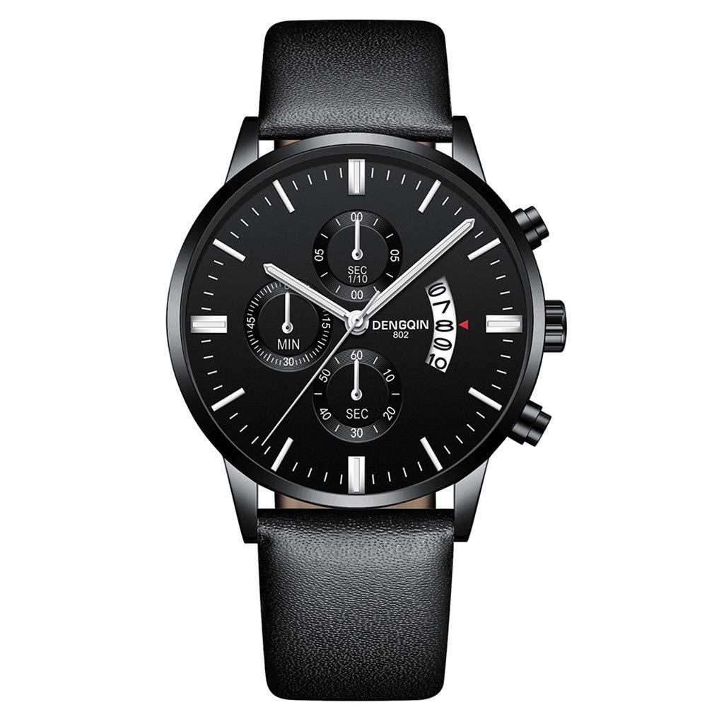 Staron  Luxury Men's Quartz Sport Military Stainless Steel Dial Wrist Watch - Top Leather Watch Band - 43mm Chronograph Date Watch - Battery Quartz Movement (C)