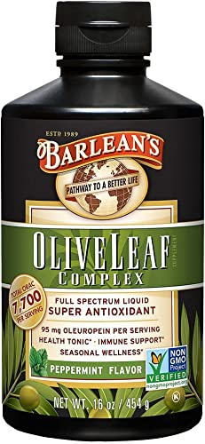 Barlean s Organic Oils Olive Leaf Complex Peppermint Flavor, 16-Ounce Bottle