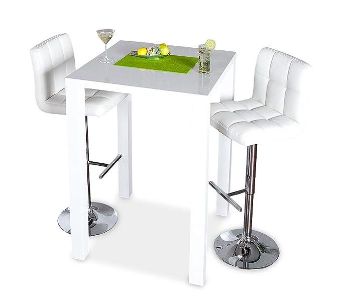 levandeo Bar-Tisch Tresen Küchentisch Weiß Hochglanz Stehtisch ...