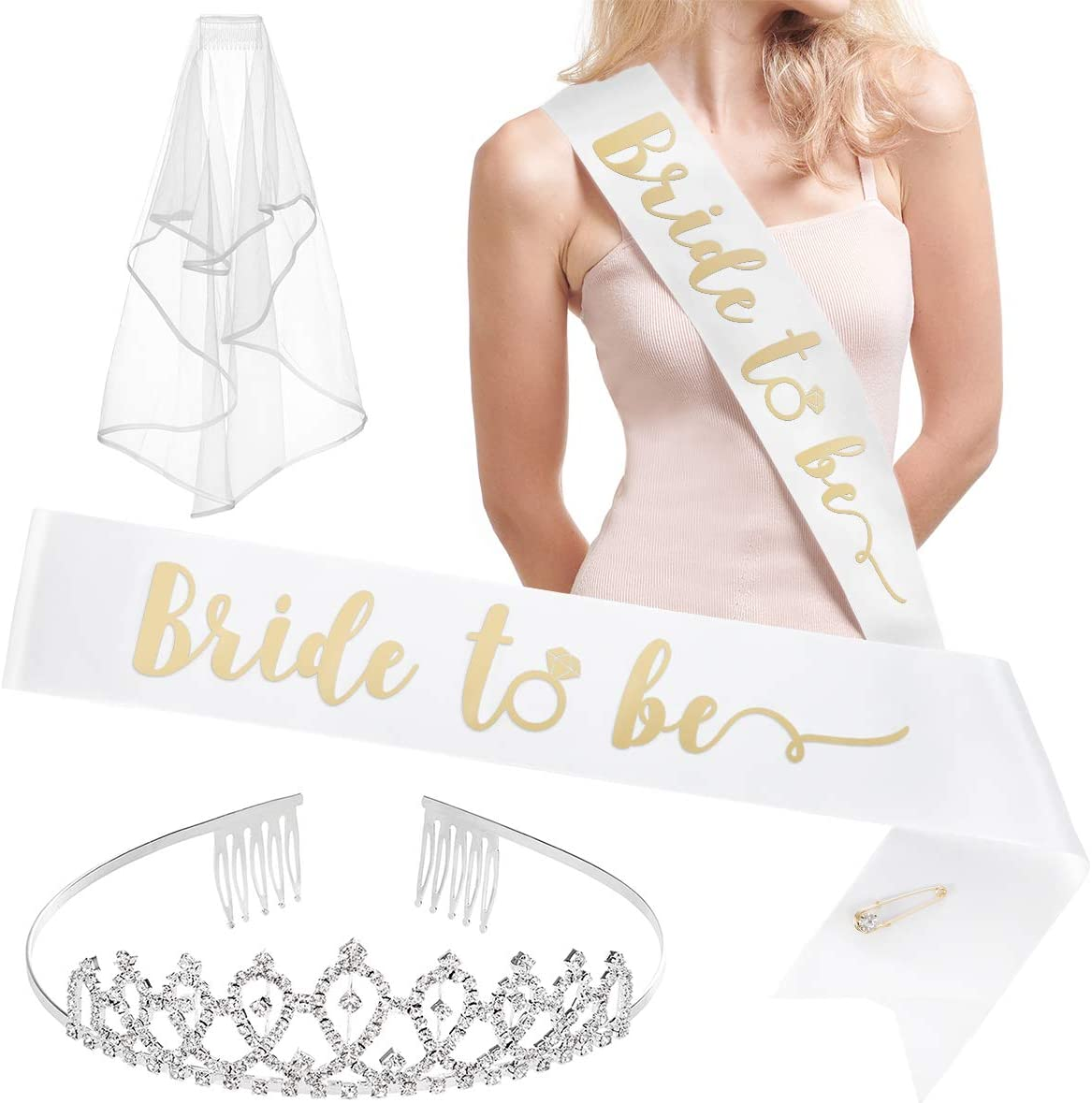 xo, Fetti Bachelorette Party Bride to Be Decorations Kit - Bridal Shower Decorations | Sash for Bride, Rhinestone Tiara, Gold Glitter Banner, Veil + Bride Tribe Tattoos: Kitchen & Dining