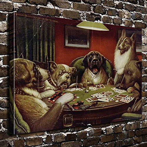 COLORSFORU cartoon smoking dogs playing poker cards Custom Canvas Print 20x16 Inch Framed Home Decor Wall Art Painting Canvas Poster Oil Dogs Playing Cards Picture
