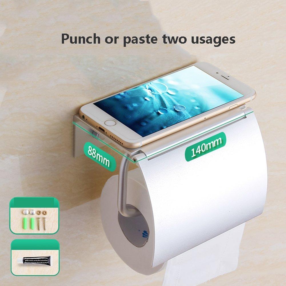 Q&F Toilet Paper Holder, Tissue Roll Hanger With Utility Shelf For Bathroom,Bedroom, Kitchen-wall Mount,Aluminum-D