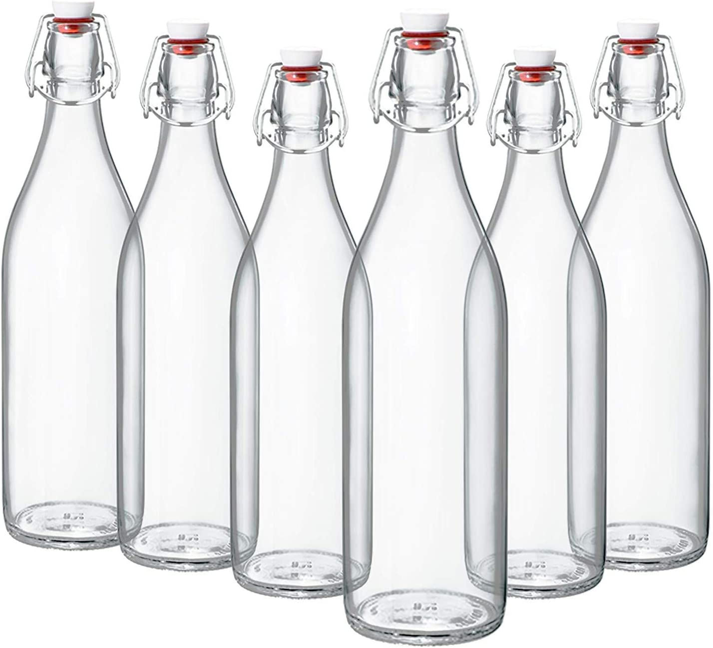 Giara Swing Top Bottles 33 ¾ Ounce/1 Liter (6 Pack) ROUND Clear Glass Grolsch Flip Top Bottle With Stopper, for Beverages, Smoothies, Kefir, Beer, Soda, Juicing, Kombucha, Water, Milk, Oil and Vinegar