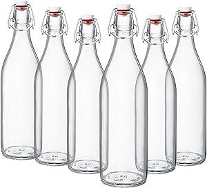 Giara Swing Top Bottles 33 ¾ Ounce/1 Liter (6 Pack) ROUND Clear Glass Grolsch Flip Top Bottle With Stopper, for Beverages, Smoothies, Kefir, Beer, Soda, Juicing, Kombucha, Water, Milk, Oil and Vinegar