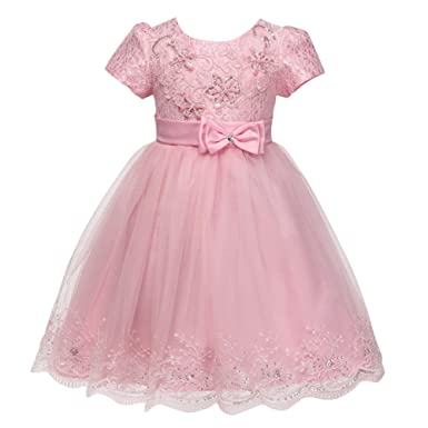 Baby Girls Princess Baptism Christening Gown Embroidery Lace Tulle Formal  Wedding Birthday Party Bridesmaid Dress Toddler Infant Short Sleeve Beaded  Bowknot ... e96cd3c126f7
