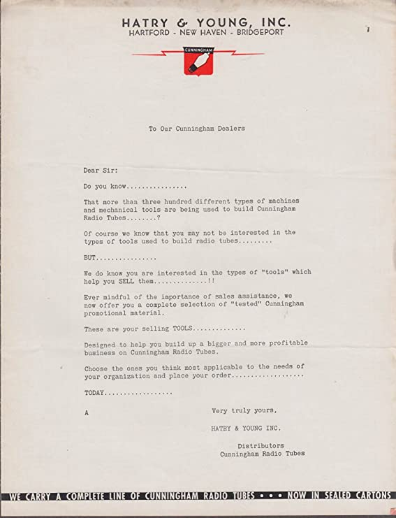 Cunningham Radio Tube Sales Aids Letter Hatry Young Ca 1930s At