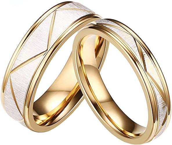 Women/'s Men/'s 18K Gold Tone Stainless Steel Carved Ring Wedding Couple Band Gift