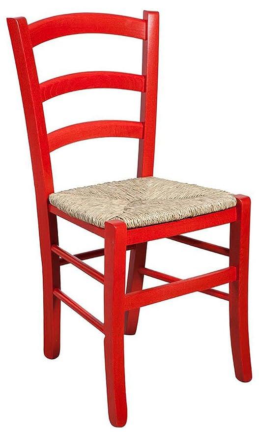 Biscottini Set 2 sedie in Legno massello di faggio Finitura Rosso ...