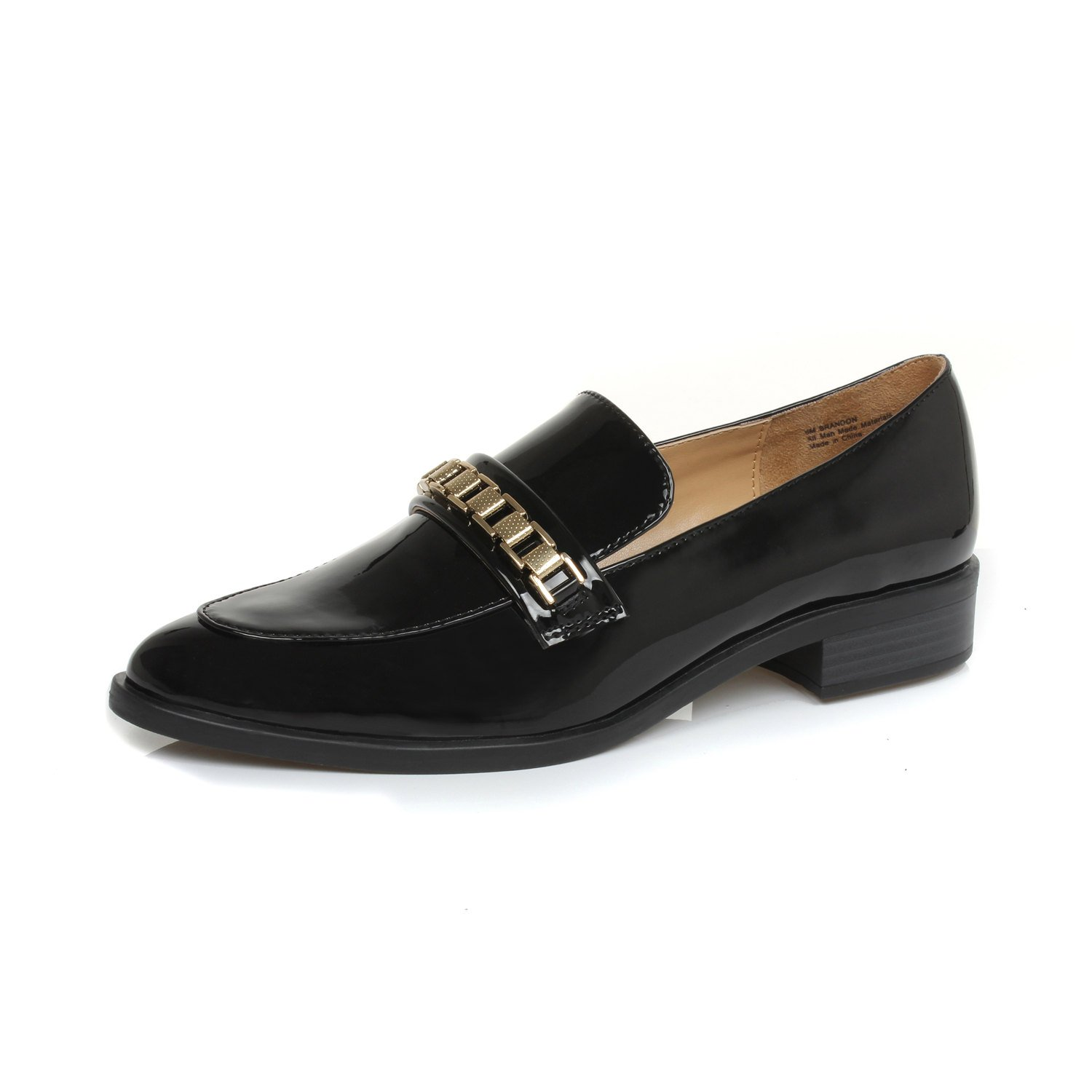 DUNION Women's Brandon Chain Decorated Penny Loafers Low Heels Almond Toe Casual Daily Shoe,Brandon Black,9.5 B(M) US