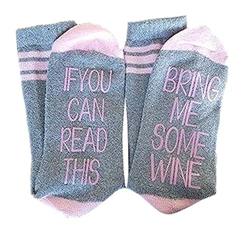 If You Can Read This Bring Me Some Wine Funny Saying Knitting Word Combed Cotton Crew Socks