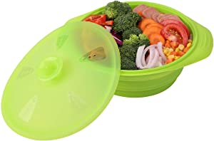 DONIBUDO Collapsible Bowl-Silicone Steamer with Handle & Lid for Collapsible Meal Prep Food Storage Containers,BPA Free …