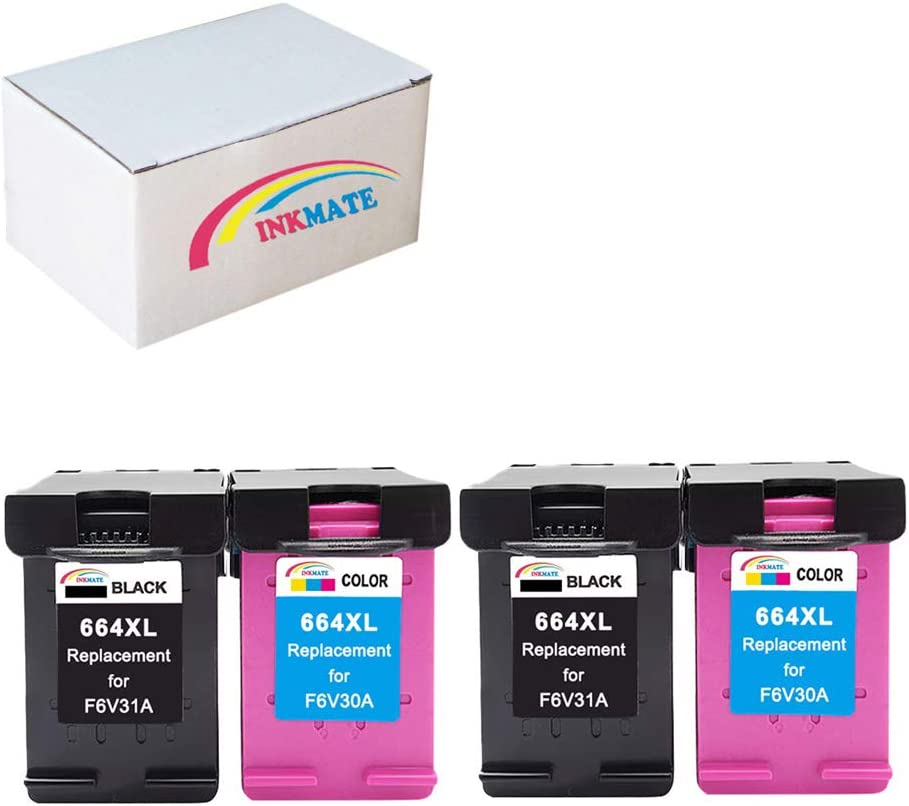 INKMATE Re-Manufactured Ink Cartridge Replacement for 664XL F6V30A / F6V31A DeskJet Ink Advantage 1115 DeskJet Ink Advantage 2136 DeskJet Ink Advantage 3636 2Black 2Tri-Color 4 Pack