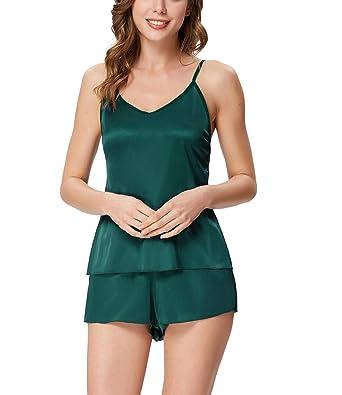 96ffd599c8 Zexxxy Damen Nachtwäsche V-Ausschnitt Zweiteilige Sexy Schlafanzüge Stain  Negligee Sommer (Grün, Small