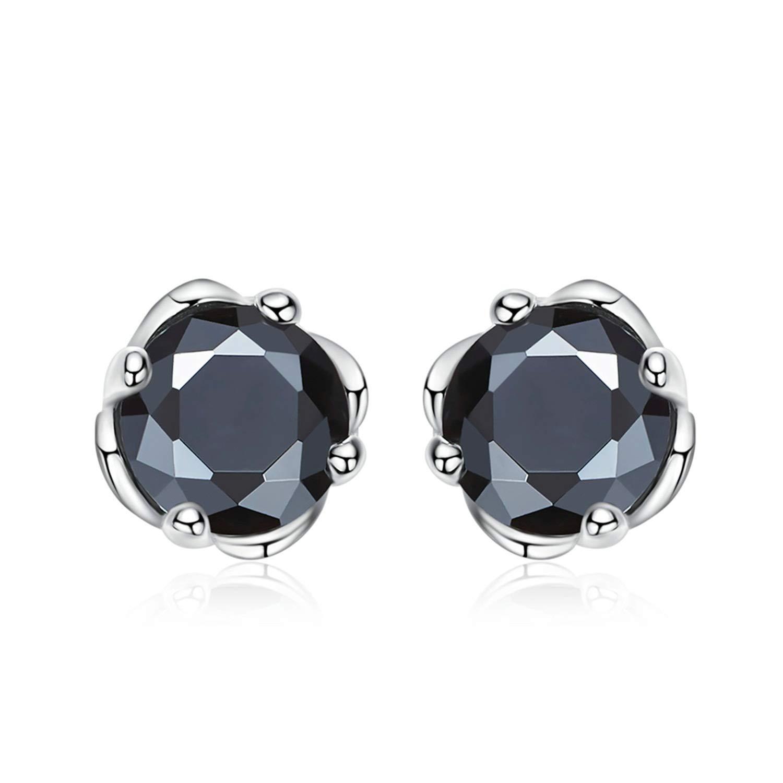 Gnzoe Women Ladies 925 Sterling Silver Earrings Crown Stud Earrings Black