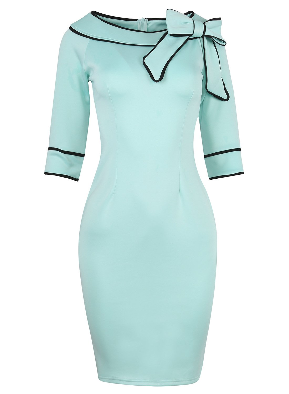 HELYO Career Female Work Dress Half Sleeve Women's Elegant Bodycon Pencil Dress 172(S, Blue)