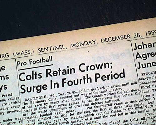 BALTIMORE Indianapolis COLTS Johnny Unitas NFL Football CHAMPIONS 1959 Newspaper FITCHBURG SENTINEL, Massachusetts, December 28, 1959