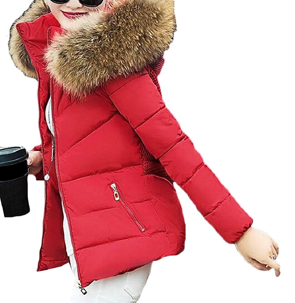 Women Winter Faux Fur Hood Down Coat Puffer Short Bomber Jacket