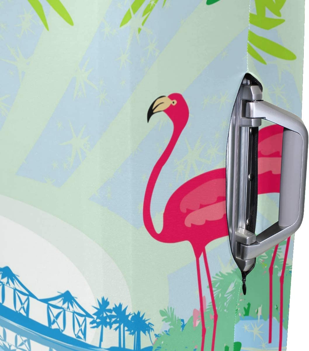 GIOVANIOR Green Palms And Pink Flamingo Luggage Cover Suitcase Protector Carry On Covers
