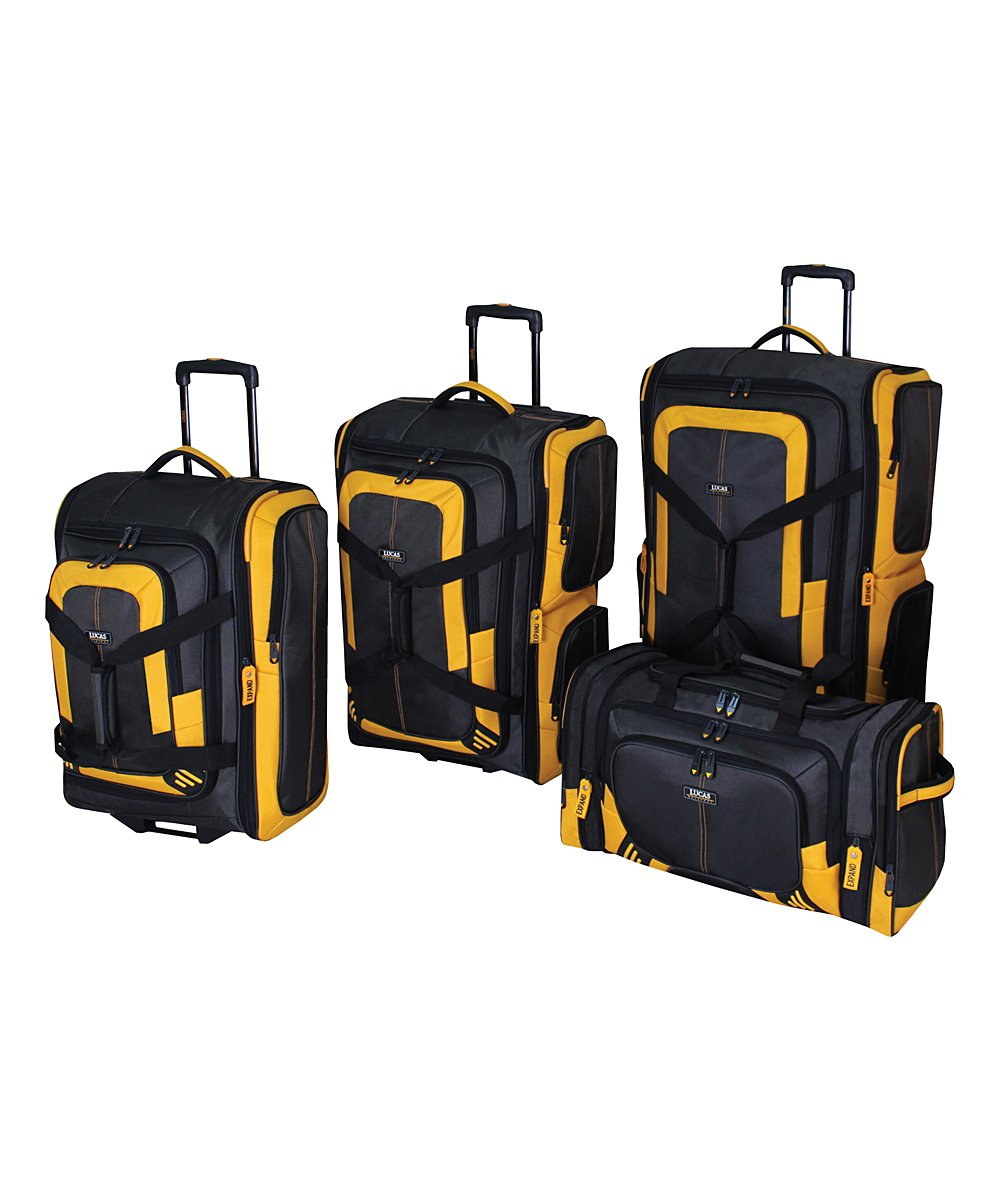 Lucas Accelerator 4 Pc Collection Luggage Wheeled Suitcase Set 22 26 & 30-inch And 20-inch Carry On Sized Duffel Bag (Black/Yellow)