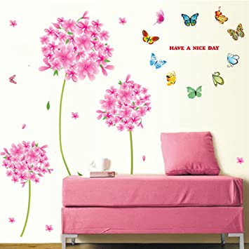 Amazon Com Wall Decal Pink Flowers Blue Butterflies Home Sticker