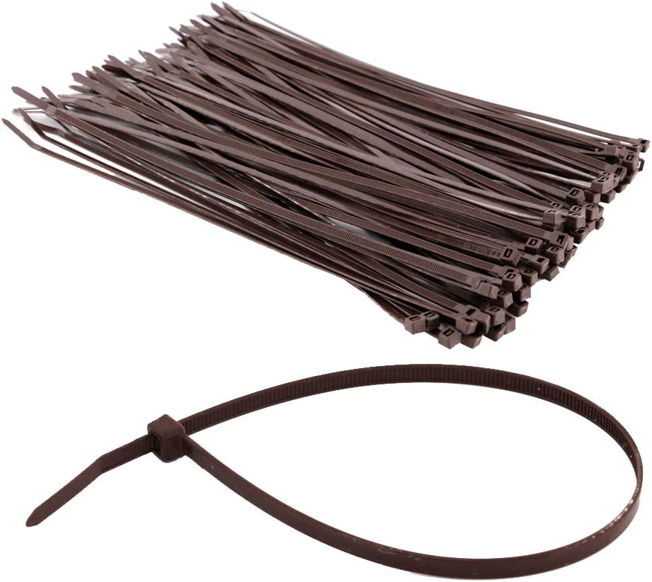 HAODE FASHION Strong Outdoor Brown Wood Color Cable Ties 12 Inch, Heavy Duty Gardening Hand Tools Plants Ties 50 LBS Strength, 100 Pieces
