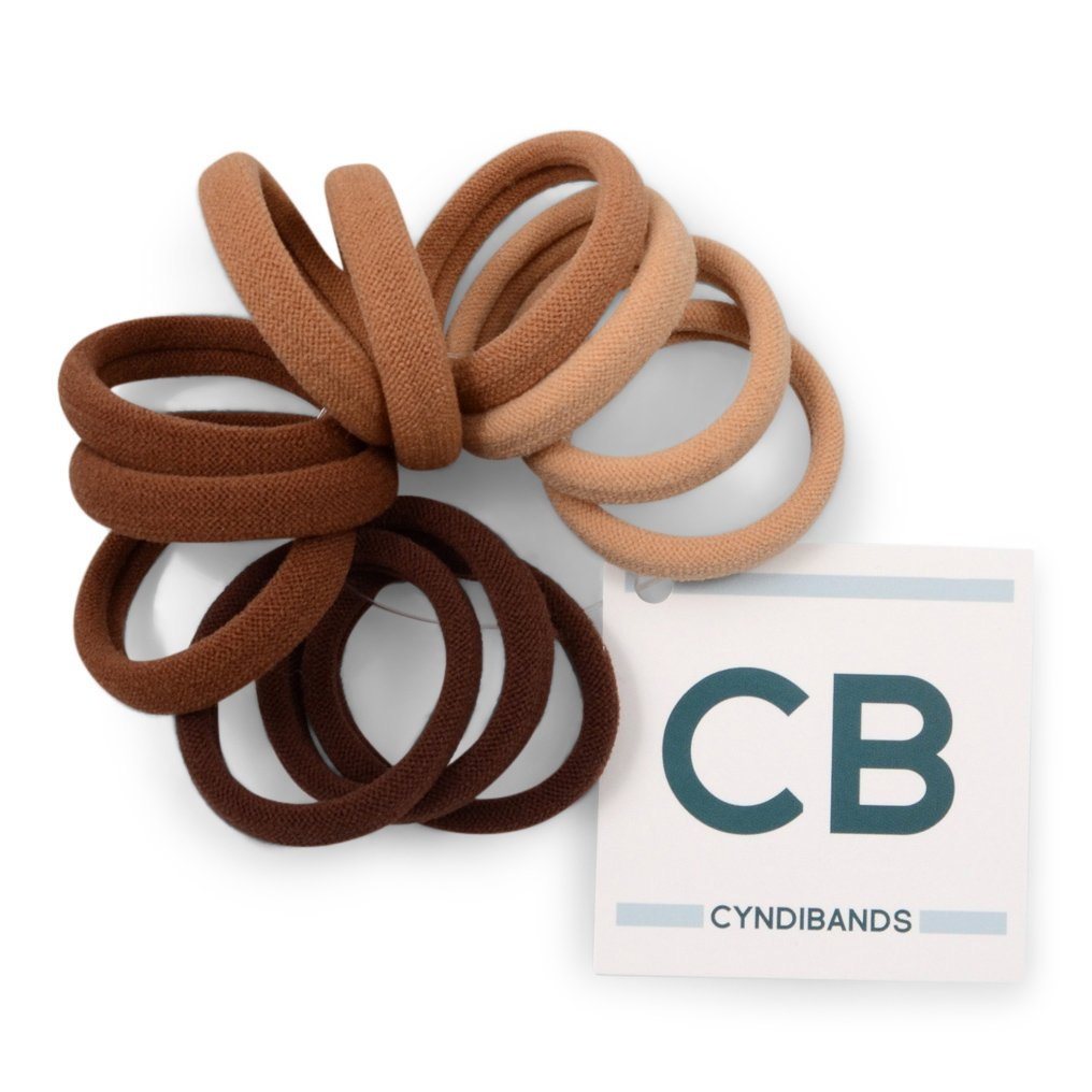 Cyndibands Strong Hold Soft and Seamless 1.5 Fabric Ponytail Holders in Brown Colors - 12 Hair Ties