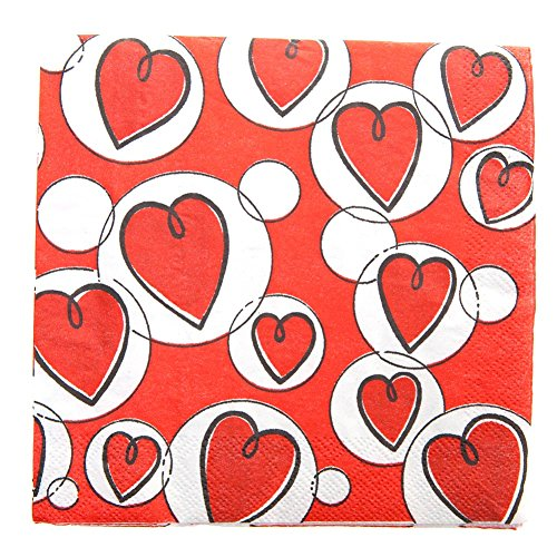 Hearts Lunch Napkins - 6