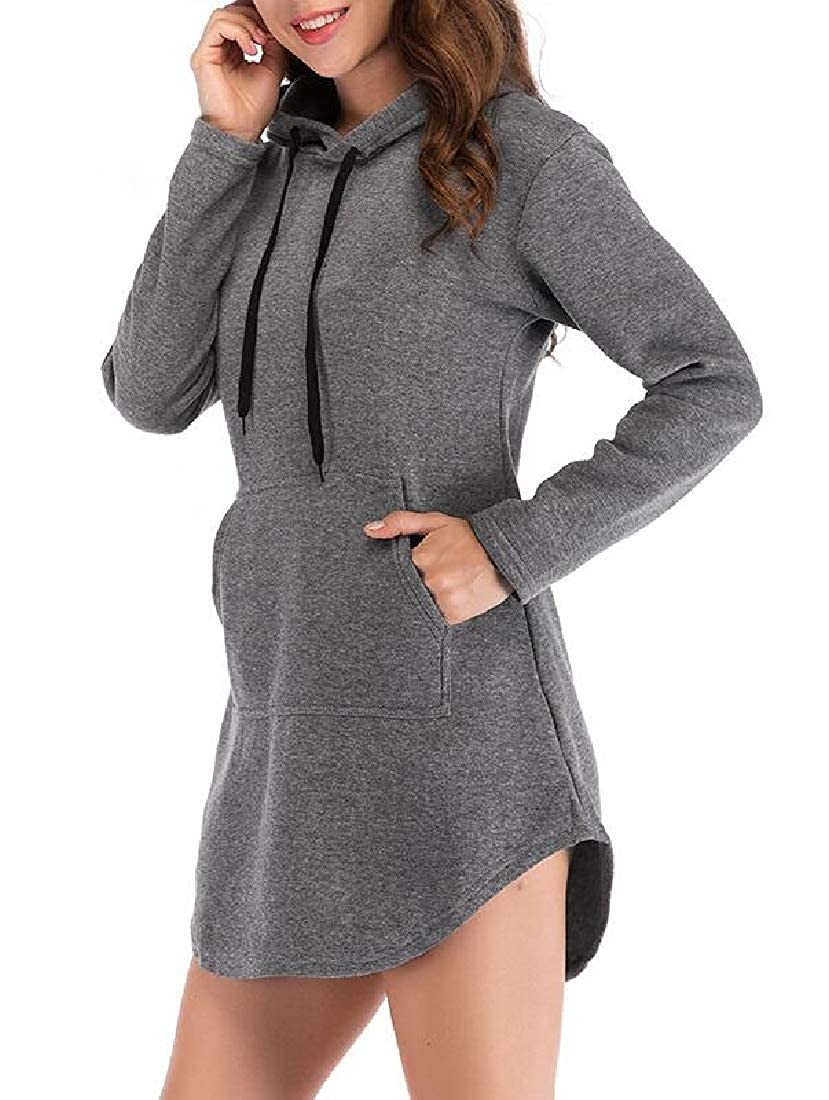 Sweatwater Womens Casual Drawstring Long Sleeve Sweatshirts Hooded Tops with Pockets