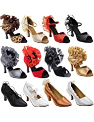 Gold Pigeon Shoes Party Party Ruffle Evening Dress Pump Collections, Comfort Wedding Shoes: Women Ballroom Dance...