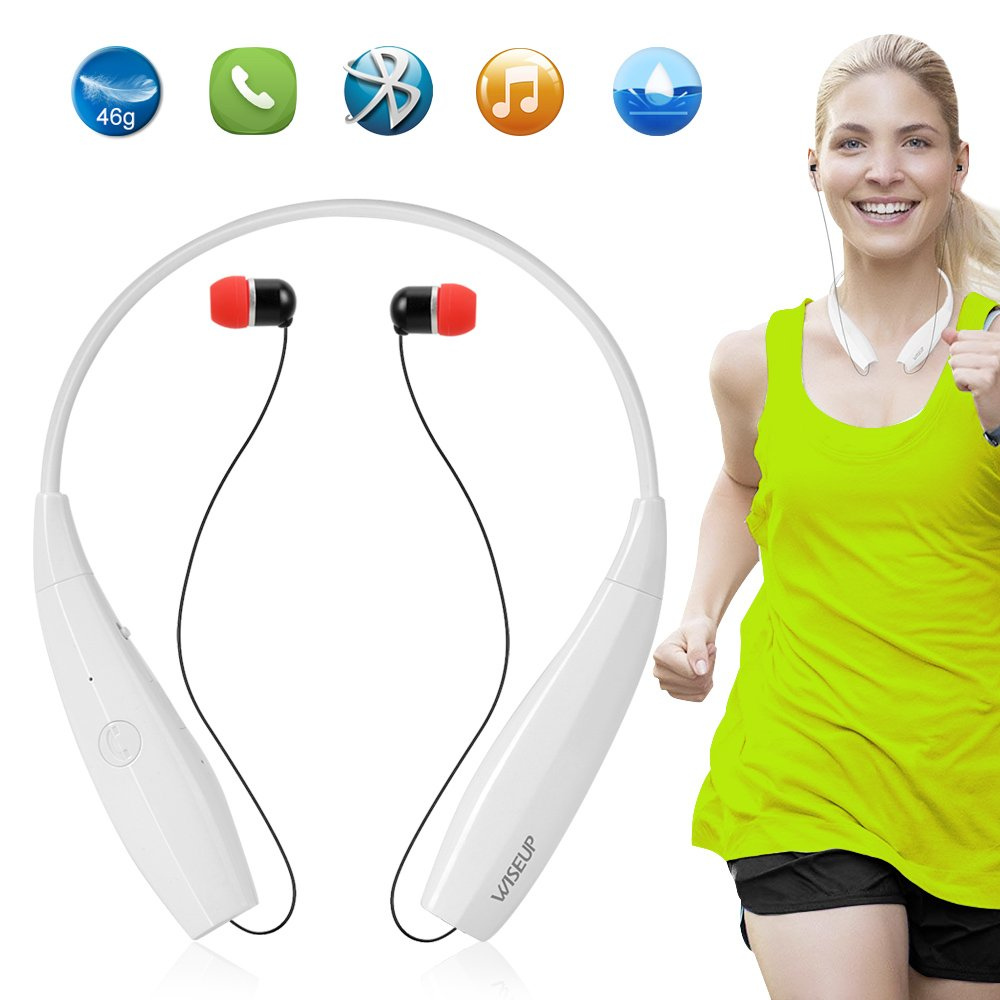 WISEUP Wireless Foldable Bluetooth Earphone Neckband Call Vibrate Alert Earbuds with 13 Hours MP3 Music Play and Mic