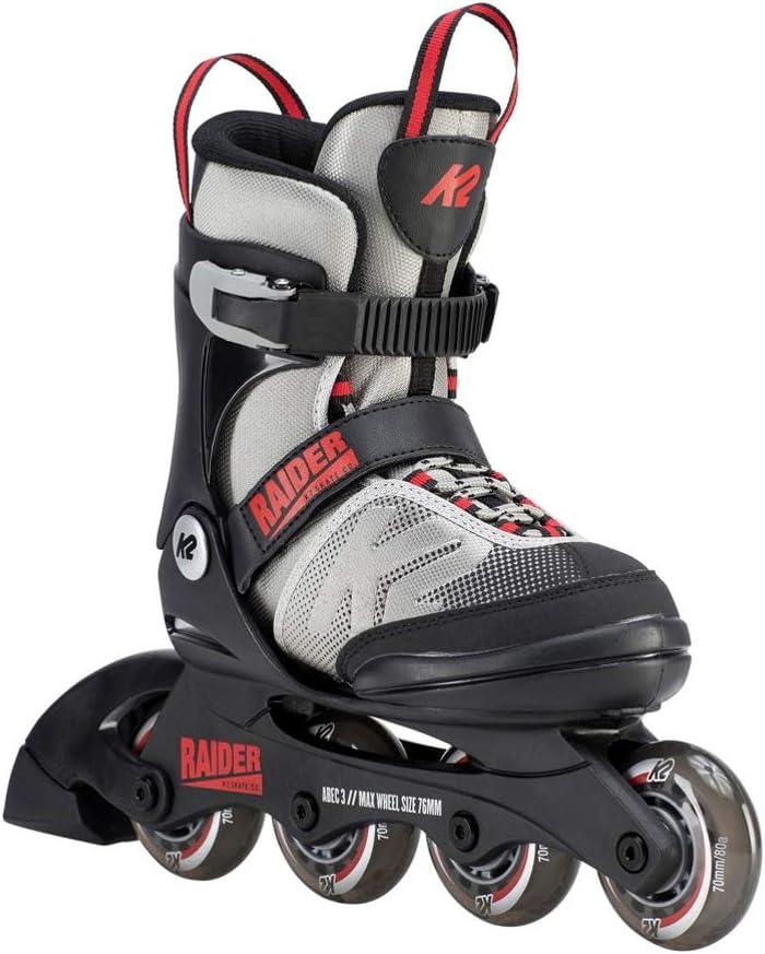 K2 Skate Youth Raider Inline Skates, Gray Red