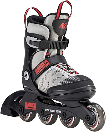 K2 Skate Youth Raider Inline Skates, Gray Red, Small 11-2