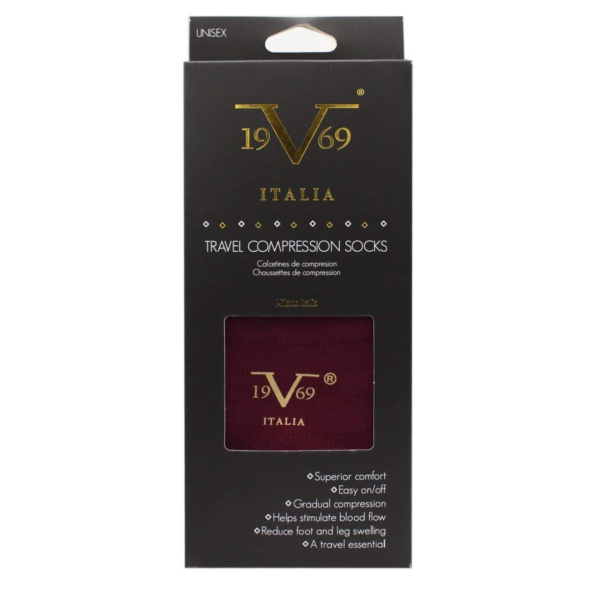 c53cd80da4 Amazon.com: Compression Socks - V19.69 Italia Best Socks for Travel,  Running, Athletes, Pregnancy, Medical, Varicose Veins, Edema, Diabetic -  Dark Red ...