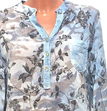 f387cc6bff345 Damen Bluse Italy Moda Fischerhemd Tunika oversize Blumen Pailetten 36 38 40  #2