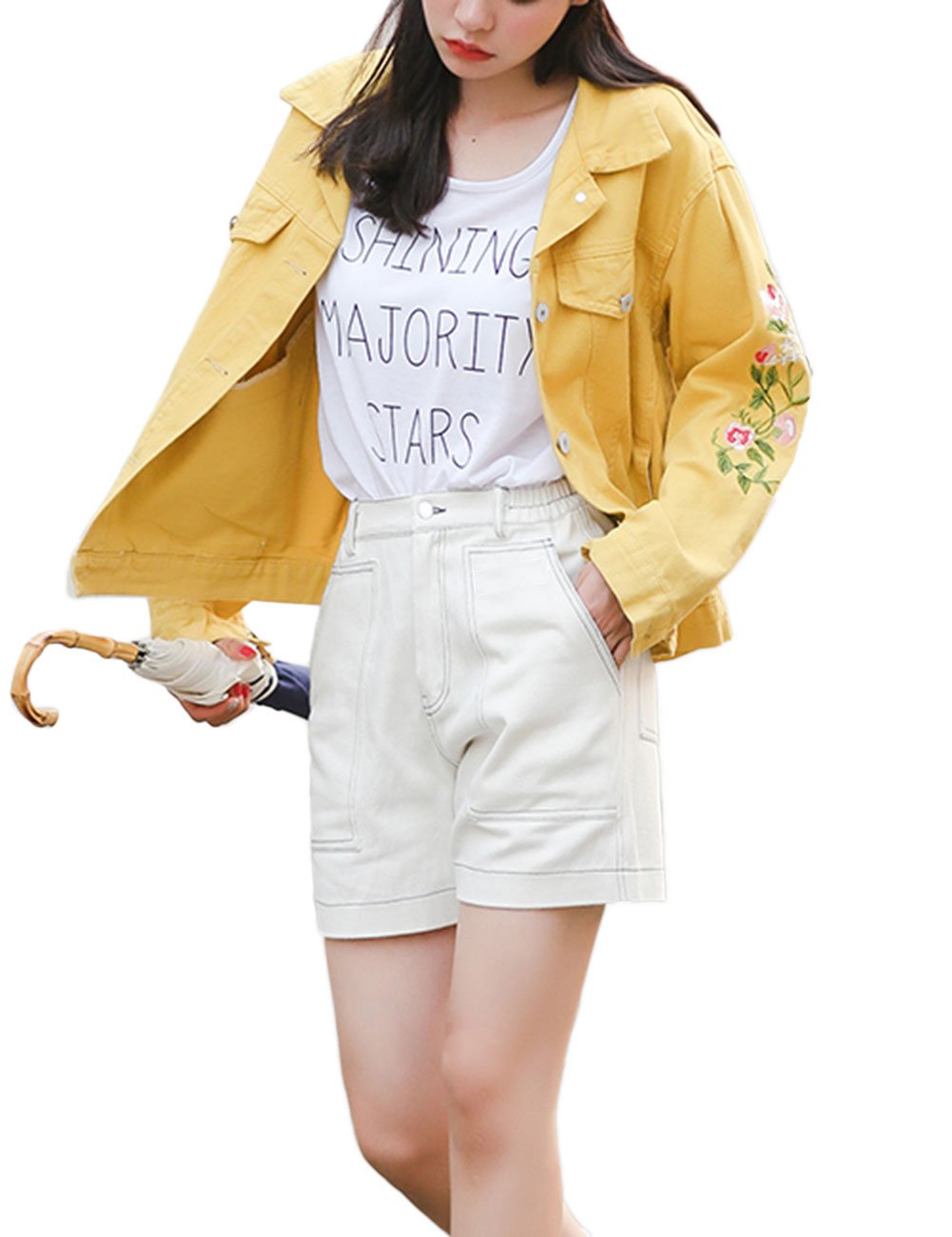 ZLSLZ Womens Girls Vintage Loose Fit Floral Embroidery Boyfriend Denim Jean Jacket Coat Outerwear Yellow M
