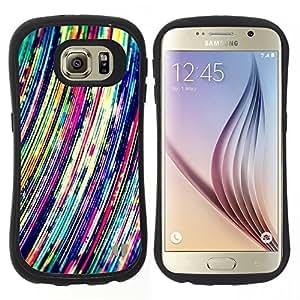 "Hypernova Slim Fit Dual Barniz Protector Caso Case Funda Para Samsung Galaxy S6 [Líneas arte vibrante colorido""]"
