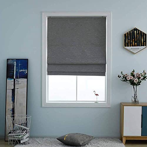 Washable Room Darkening Cordless Roman Shades for Windows, Double Tone Color Jacquard Textured Woven Polyester Belmar Roman Blind for Living Room Nursery Bedroom 48 W 64 L Ash Grey