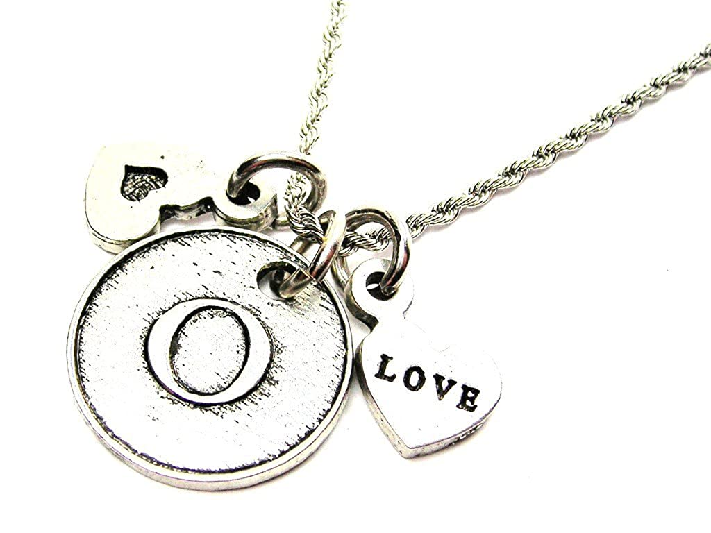 Chubby Chico Charms Initial O Circle 20 Stainless Steel Rope Chain Necklace