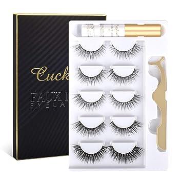 Cuckoo Eyelashes Lashes Pack,5 Pairs 3D Faux Mink Eyelashes with Eyelash Glue Kit,Natural False Eyelashes for Women,Reusable Makeup Soft Natural Look Fake Eyelashes