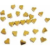 25 Metallperlen Herz goldfarben, 6,5mm, Perlen basteln, Herzen, Zwischenperle