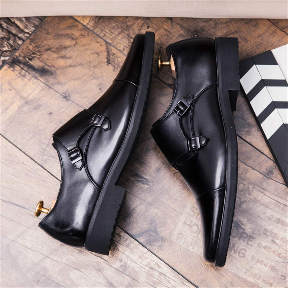 Gobling Mens Classic Oxfords Double Buckle Monk Strap Business Casual Shoes Modern Wedding Prom Dress Shoes