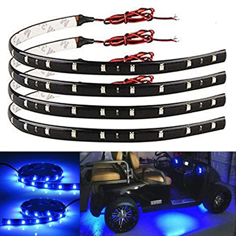 Everbright 4 Pack Blue Led Strip Lights For Cars 30cm 5050 12 Smd Waterproof Car Underglow Lights Motorcycles Golf Cart Decoration Led Interior