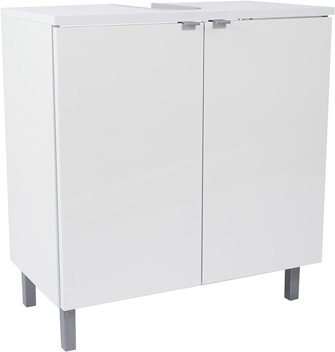 SAM Milan - Armario para Debajo del Lavabo (70 x 65 x 50 cm, 2 Puertas y sifón, fácil de Limpiar), Color Blanco Brillante: Amazon.es: Hogar