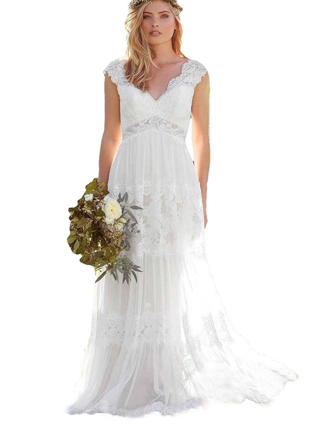 NUOJIA Doppelt V Ausschnitt Boho B/öhmischen Brautkleider Lange Spitzen hochzeitskleider
