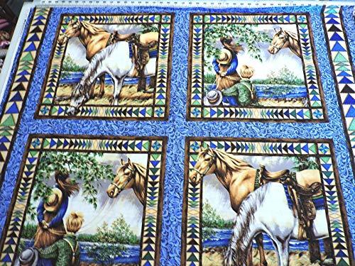 100% Cotton Fabric - Panel Pillow Panel Cowboys, Cows and Horses - Pillow Cowboy Panel